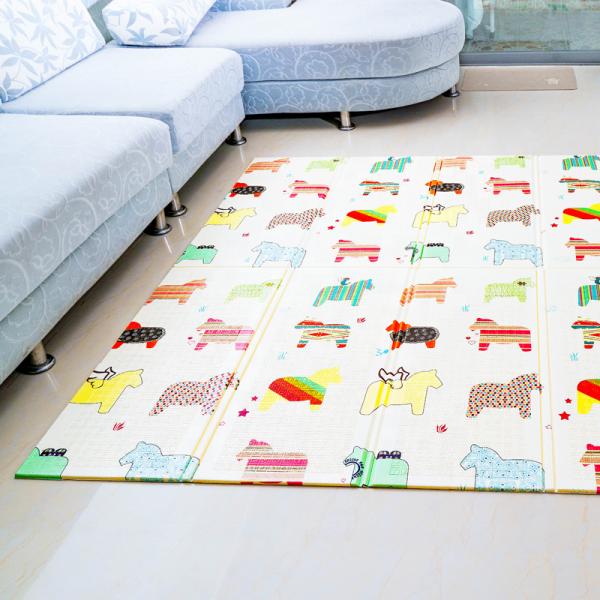 Mamabrum Speel Kleed Paarden & Letters - Dubbelzijdige XXL - Foamen speelkleed / mat - Opvouwbaar 1 CM