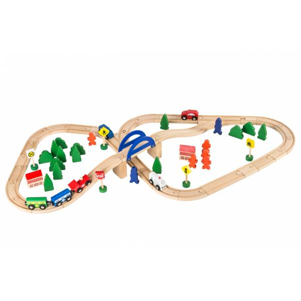 Dodo Toys - Houten Treinset - Treinbaan hout - Trein set - XXL - 70 stuks - Treinen Speelgoed