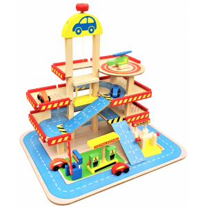 Dodo Toys Houten Speelgoed Garage - Met Lift - Hout Parkeergarage - Set met auto's en wasstraat