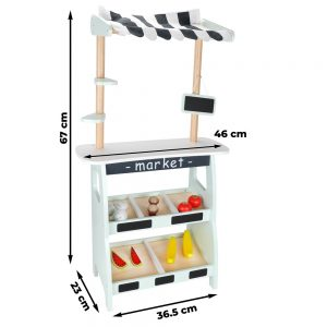 Mamabrum - Houten Marktkraam - Groenten en fruit kraam - Accessoires inbegrepen - Speelgoed Winkeltje