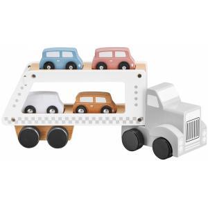 Mamabrum Houten Vrachtwagen Speelgoed - Oplegger met 4 Wagens