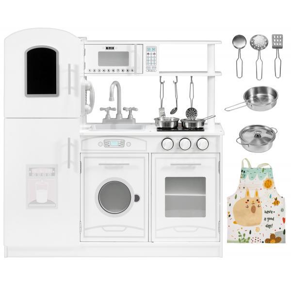 Mamabrum Houten Witte Keuken met Accessoires en Schort