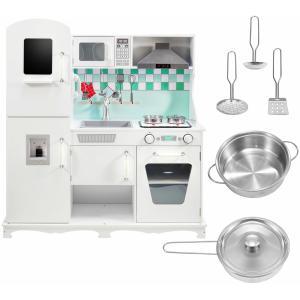 Mamabrum Houten Witte Keuken Groot - met Accessoires en Schort