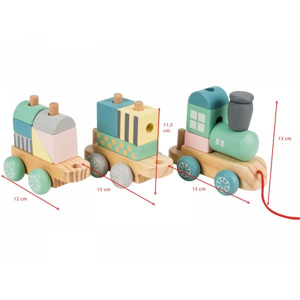 Mamabrum Houten Trein Pastel - met Wagon en Blokken - 2 Wagonnetjes