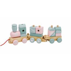 Mamabrum Houten Trein Roze - met Wagon en Blokken - 2 Wagonnetjes