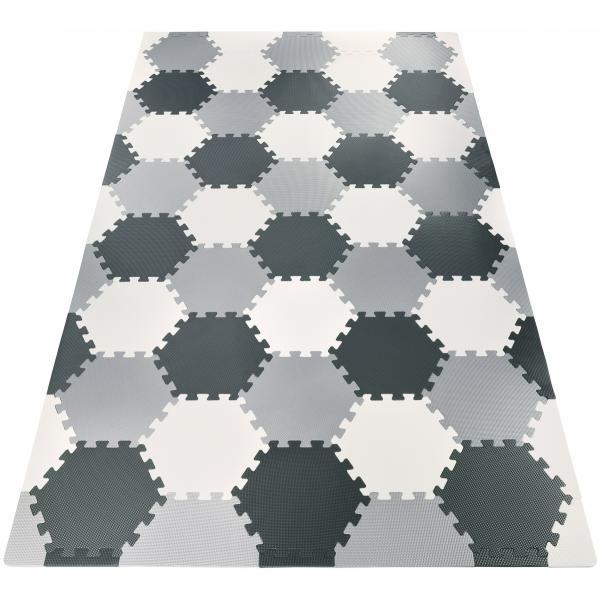 Moby System Puzzelmat XXL 260 x 135 x 1 cm - met rand - EVA foam + tas - grijs