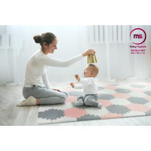 Moby System Puzzelmat XXL 260 x 135 x 1 cm - met rand - EVA foam + tas - roze