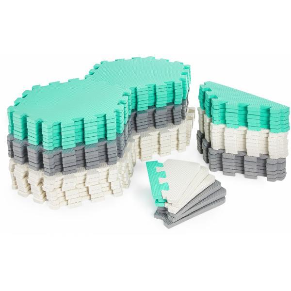 Moby System Puzzelmat XXL 260 x 135 x 1 cm - met rand - EVA foam + tas - groen