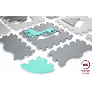 Moby System Puzzelmat XL 150 x 150 x 1 cm - met rand - EVA foam - groen
